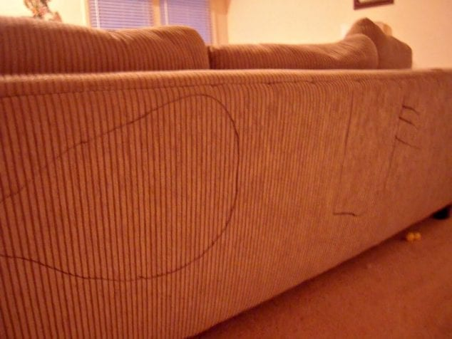 writing on the couch