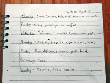 how do i make a weekly meal plan