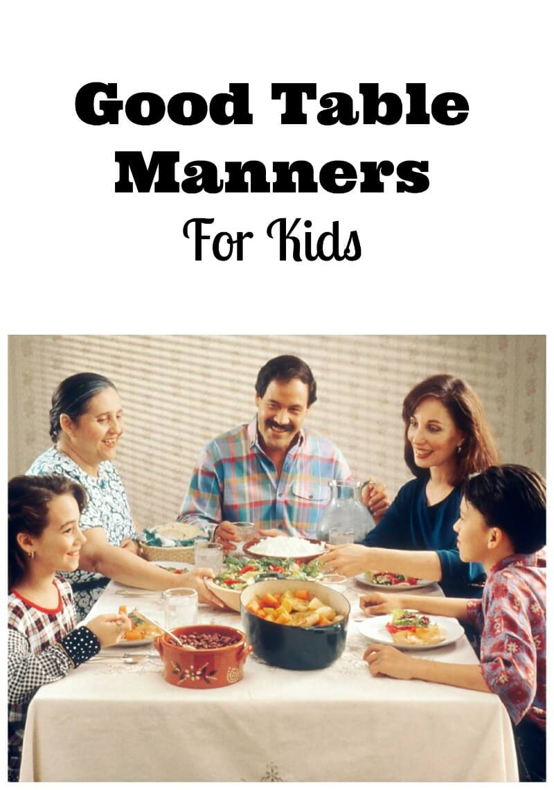 Kids table manners for Etiquette for