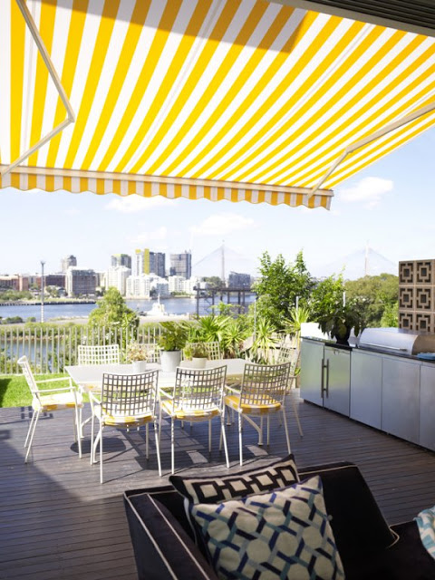 Awning in the backyard by Designer Greg Natale