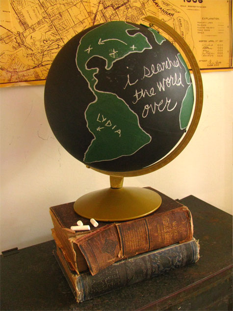 Diy chalkboard globe from design sponge