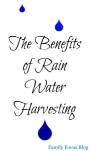 Benefits of rain water harvesting