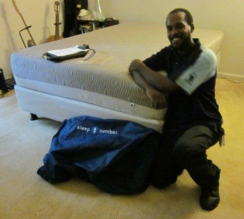 Sleep Number memory foam bed all set up