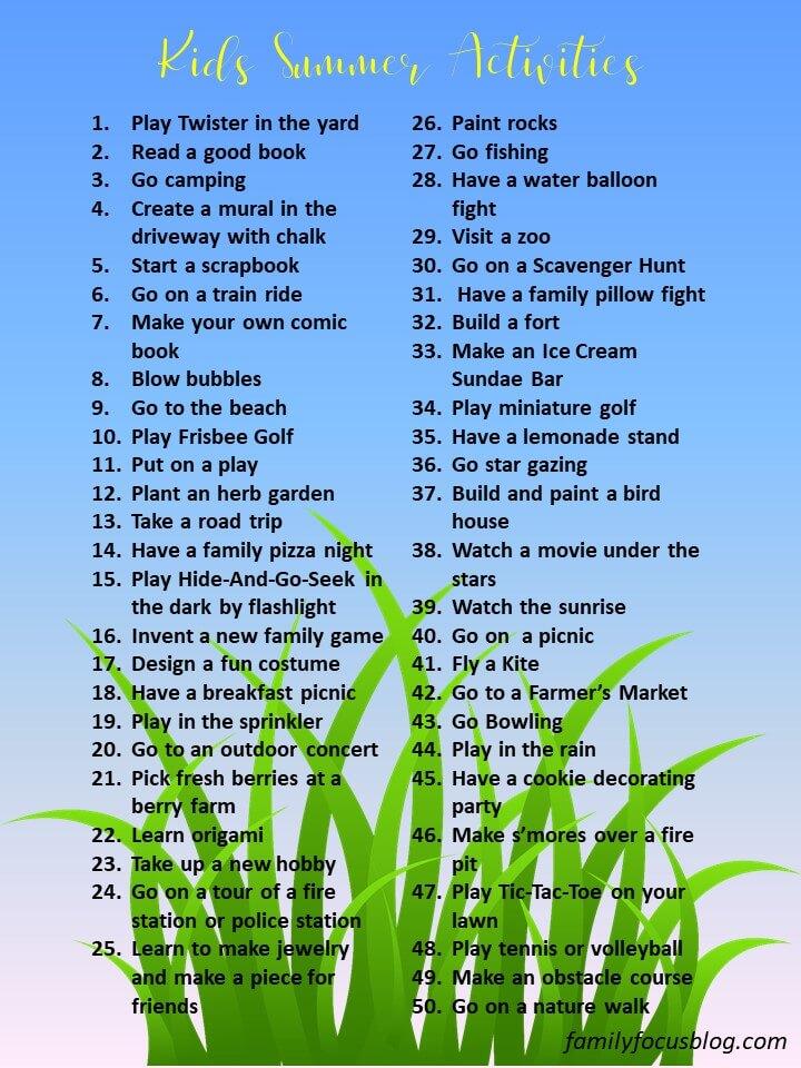 fun printable summer activities for kids
