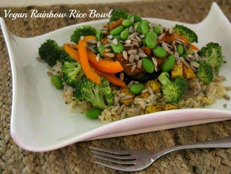 vegan rainbow rice bowl