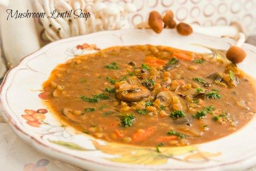Mushroom Lentil Soup