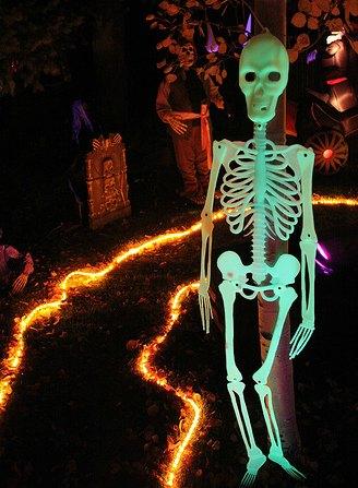 DIY Haunted House with black lights skeleton