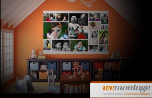 WeMontage personalized wall coverings from your photos- custom photo collage for your wall