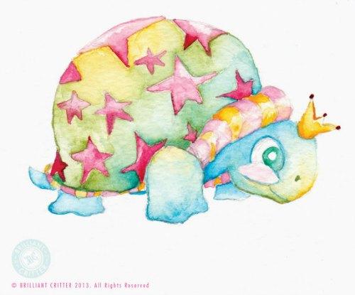 whimsical turtle original watercolor nursery art