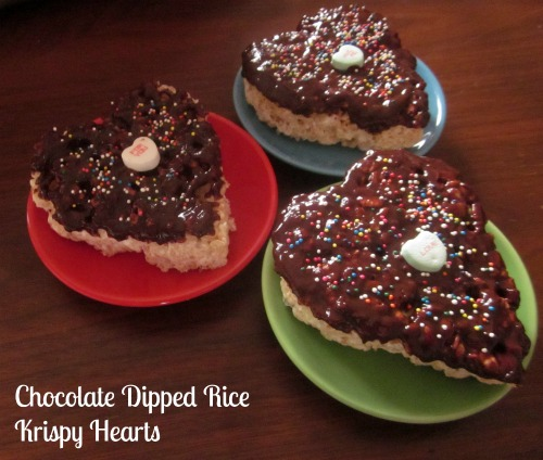 Heart Shaped Rice Krispie Treats Dipped In Chocolate