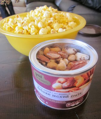 mixed nuts and popcorn football party snacks