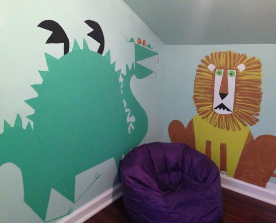 animal murals kids room
