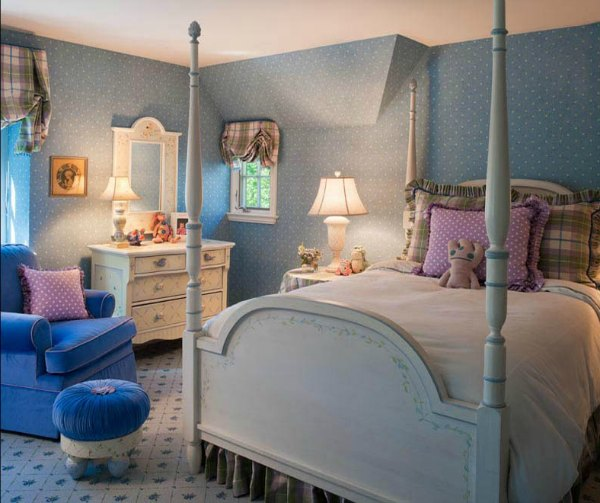 blue and purple tween girls room