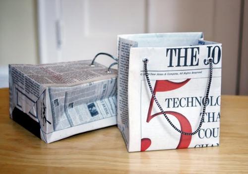 Repurposed newspaper gift bags for spring