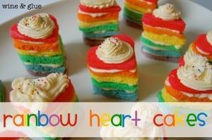 Mini Rainbow Heart Cakes
