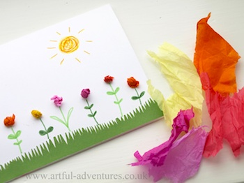 4 May Day Crafts- #1 tissue flower cards