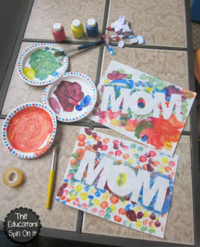 inexpensive mother's day activities, mother's day, finger paint art