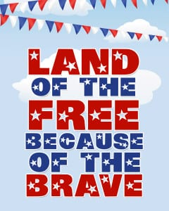 Land of the free Memorial Day printable