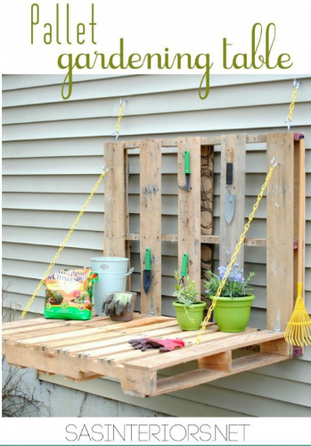 pallet garden table, pallet furniture, DIY pallet