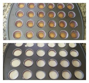 Top: Step 3 Bottom: Step 4 for the easy mini cheesecakes