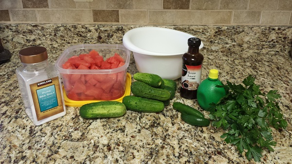 Cucumber Watermelon Salad ingredients