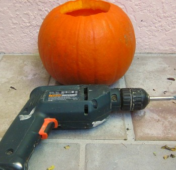 pumpkin carving with a drill