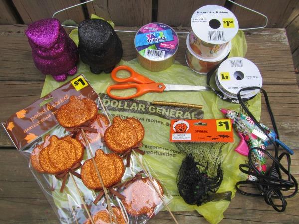 DIY Halloween wreath supplies