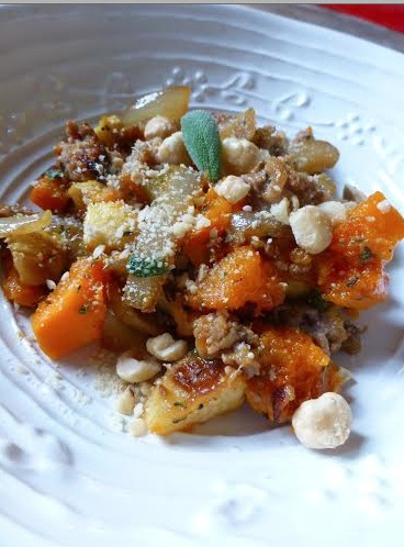 Apple, Sweet Potato and Sausage Stuffing