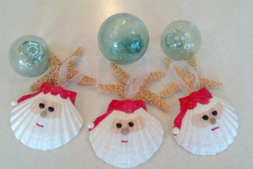 santa ornament from sea shells