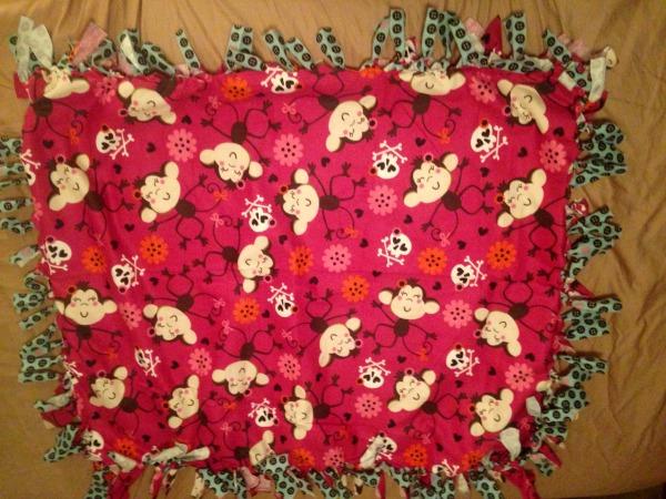 Finished handmade throw blanket
