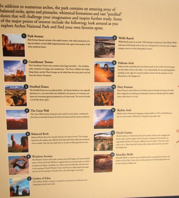Points of Interest Arches Park