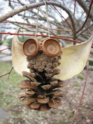 pine cone owl ornament