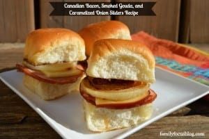 Canadian Bacon, Smoked Gouda, and Caramelized Onion Sliders Recipe