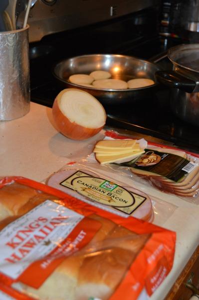 slider ingredients- onions cooking