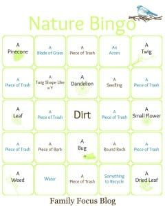 Earth Day Nature Bingo Printable