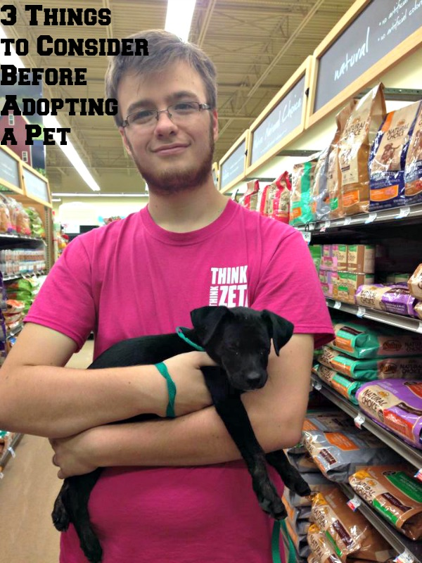 My fiance', Connor Vandevender, holding our rescue pet on adoption day