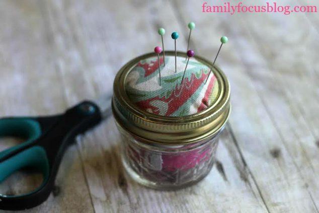 pin cushion sewing kit in mason jar