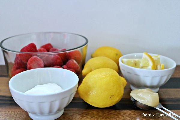 Homemade Strawberry Frozen Yogurt in Lemon Cups