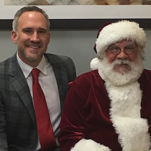 Santa visits Dr. Mike Burgdorf for a makeover consultation