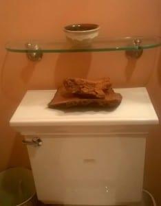 tree bark as bathroom decor