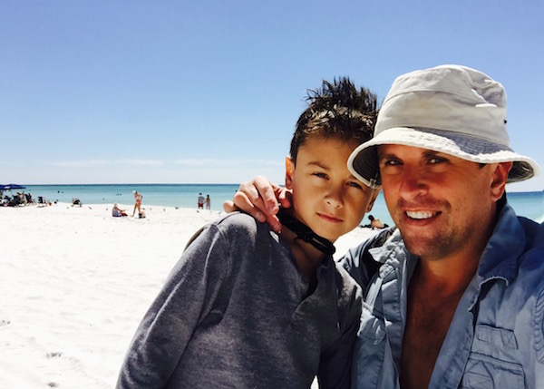"""My son and I on our """"family"""" beach trip in 2015"""