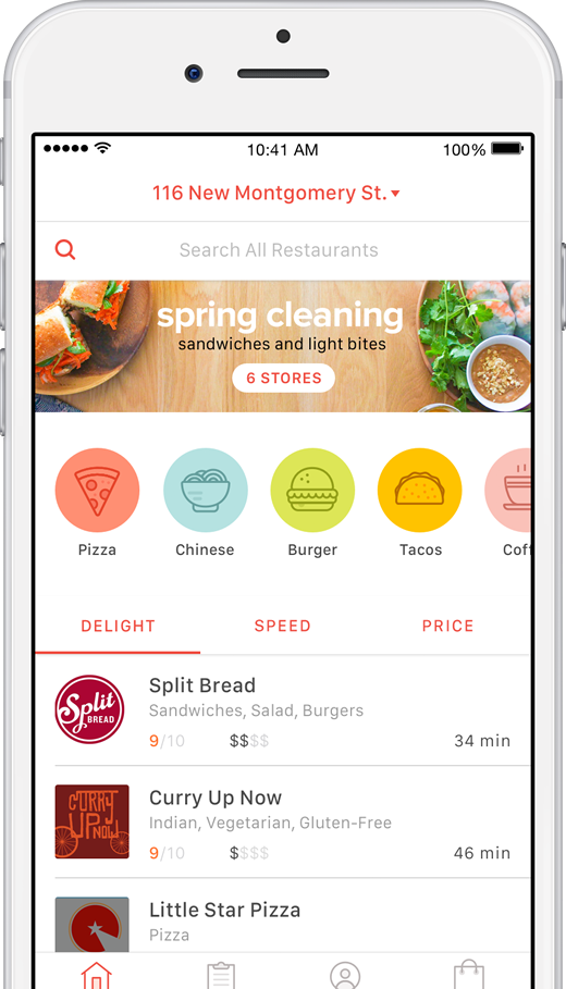 Browse your town for the local favorites or sort by cuisine, price, or speed.