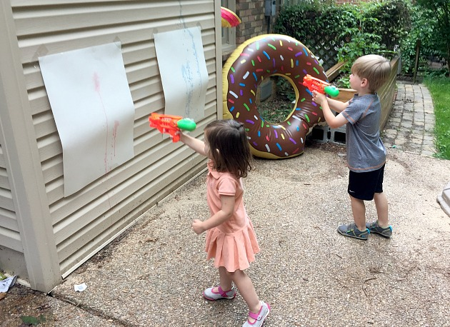 water gun painting activity