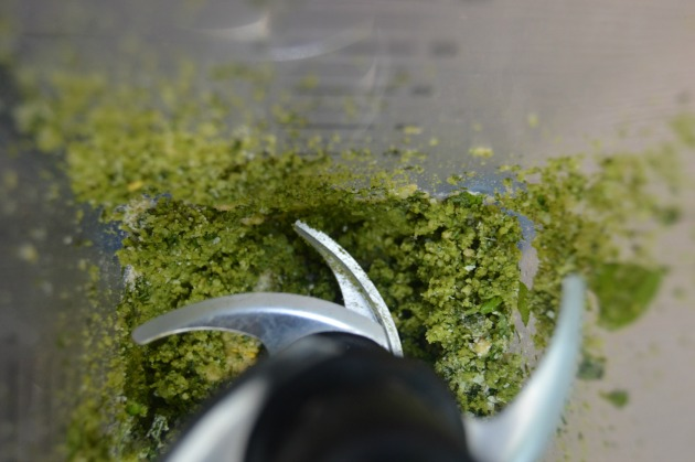 pesto before olive oil