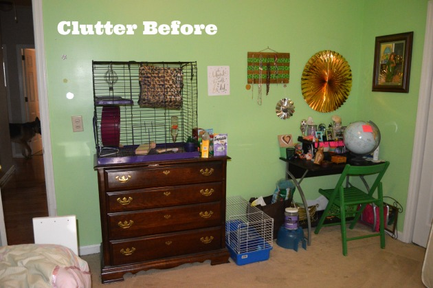 clutter before loft bed