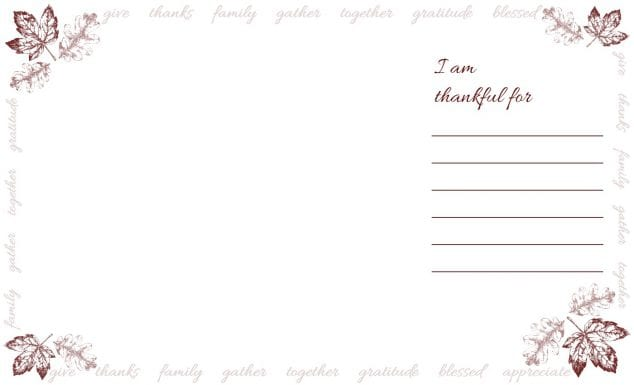 picture regarding Printable Thanksgiving Placemat identified as Totally free Printable Thanksgiving Point Playing cards and Placemats