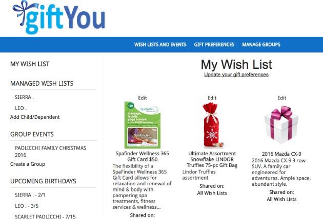 online gift wish list