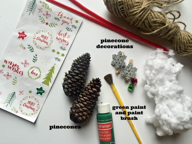 Supplies to make pine cone christmas tree