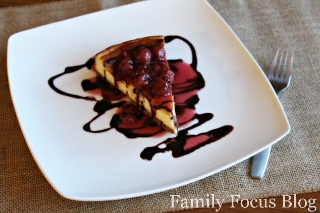 Gluten Free Cheesecake with Cherry and Chocolate Topping
