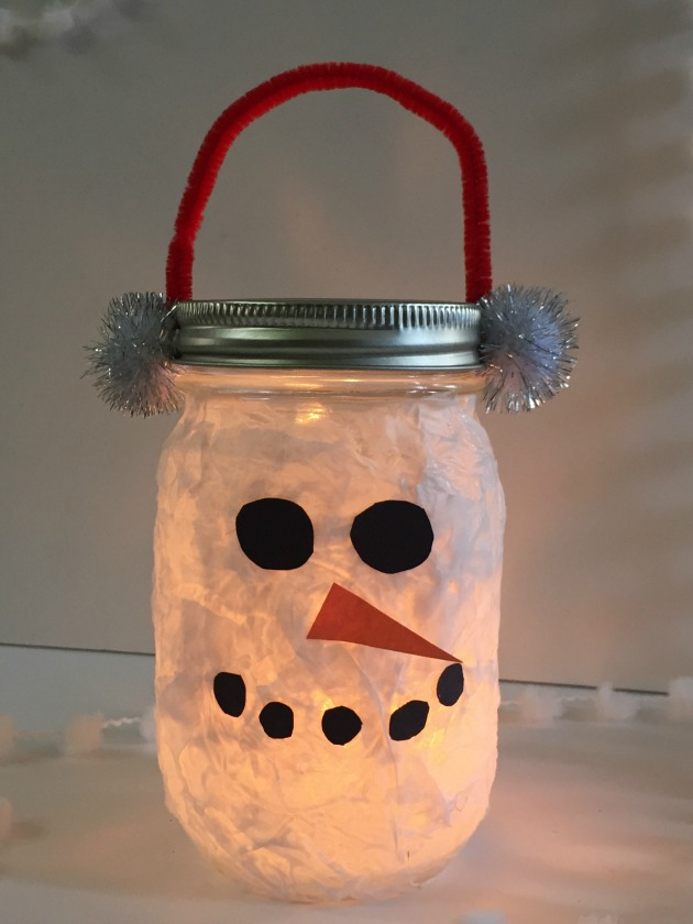 DIY Lantern Snowman Craft for Kids